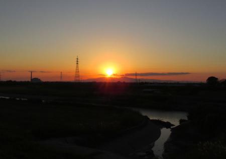 夕陽と多良岳 006