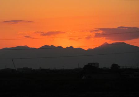 夕陽と多良岳 045