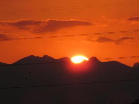 夕陽と多良岳 041