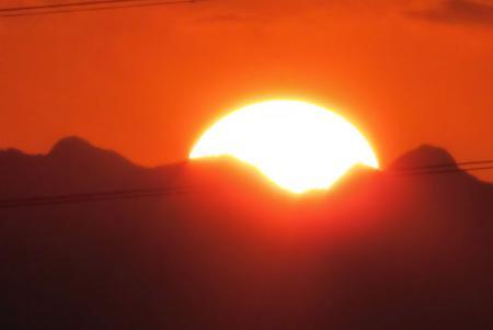 夕陽と多良岳 037
