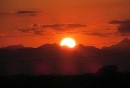 夕陽と多良岳 035
