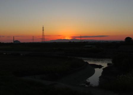 夕陽と多良岳 046