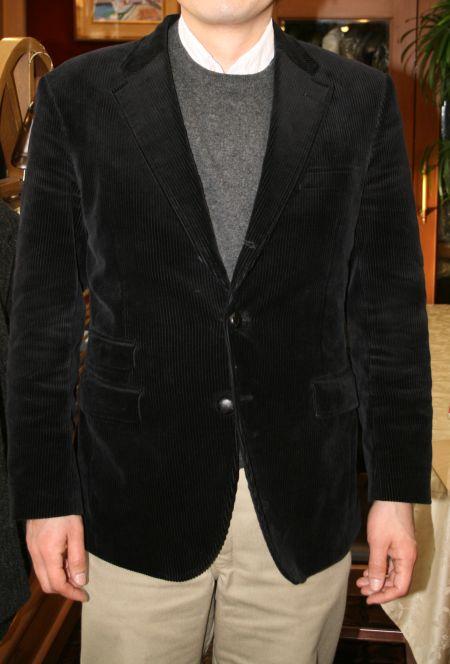 黒コーデュロイのオーダージャケット