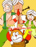 2013年の年賀状案。ヘビはデザインしにくい。