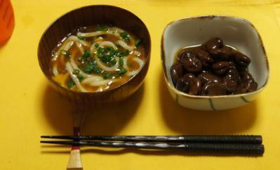 釜たまうどん・醤油豆