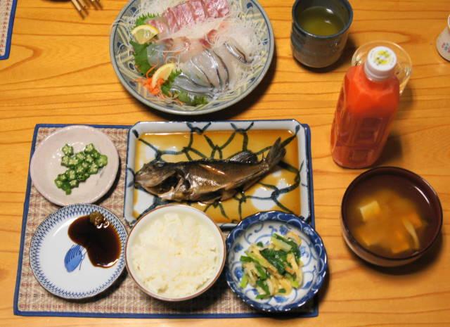 刺身とめばるの夕食