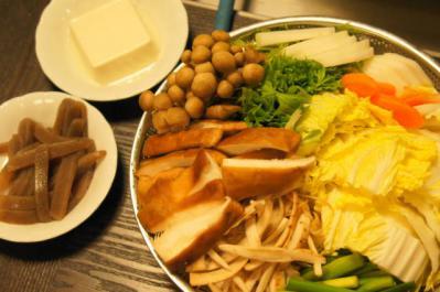 鍋材料・野菜、きのこ、豆腐