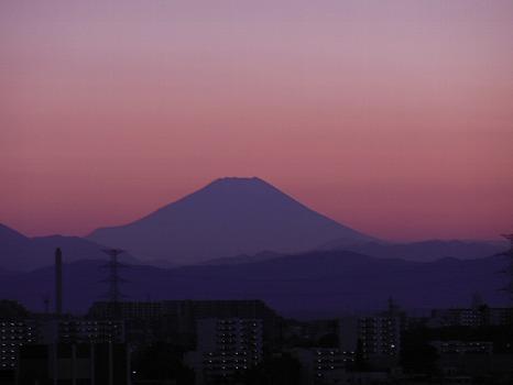 富士夕焼けシルエット