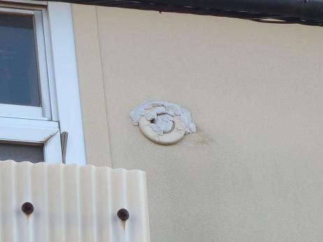 外壁エアコン管跡