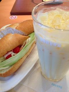 ドトールコーヒーショップ ミラノサンド 彩り野菜とチキンのバーニャカウダソース マンゴーパッションヨーグルト M