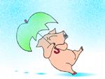 image 傘さして転んでるブタの絵