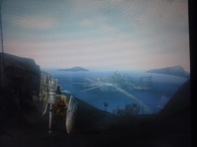 森の入口から見える港