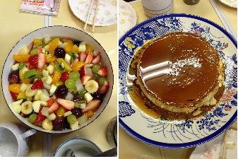 フルーツポンチとプリンケーキ