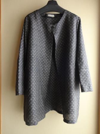格子織紬カーディガン風ジャケット