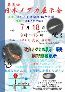 松戸支部メダカ展示会お知らせ