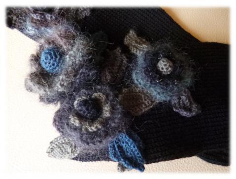 お花の手袋(黒)1