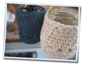 網編み小瓶