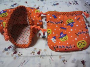 20120924ハロウィン柄の巾着袋 完成(*^^)v2