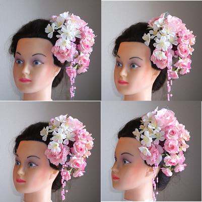 ピンクローズと桜の和装髪飾り