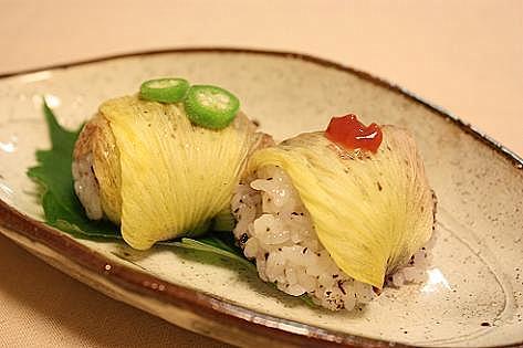 花オクラの手まり寿司♪