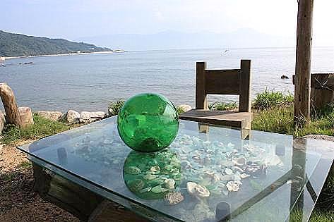 貝殻だらけのテーブル♪