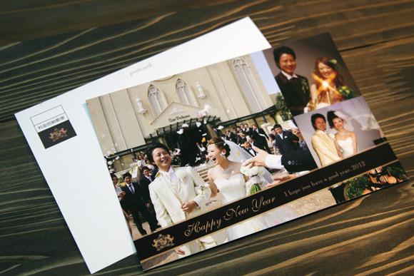 センスよくデザインされた結婚式の報告ハガキ