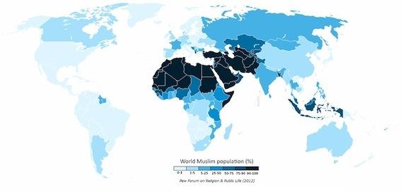 世界各国のイスラム教徒の割合