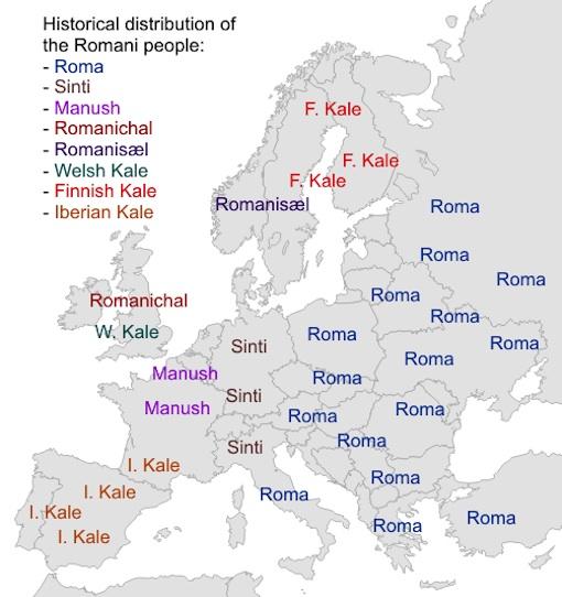 欧州各地におけるロマの呼び名