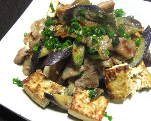 豚と豆腐と茄子の炒め物