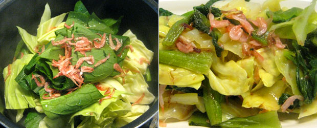 野菜の桜海老蒸し