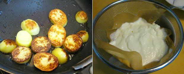 芋焼き、水切りヨーグル