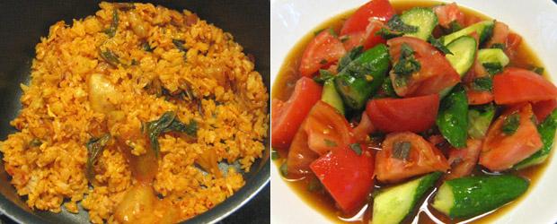 野菜の大葉生姜醤油、キムチチャーハン