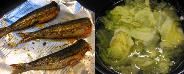 イワシメンタイと冷凍キャベツスープ