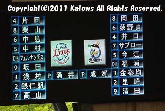 H23西武ドーム開幕戦オーダ