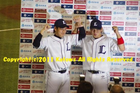 中島選手と牧田投手 heroインタビュー