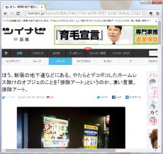 ほう。新宿の地下道などにある、やたらとデコボコしたホームレス除けのオブジェのことを「排除アート」というのか。凄い言葉。排除アート。