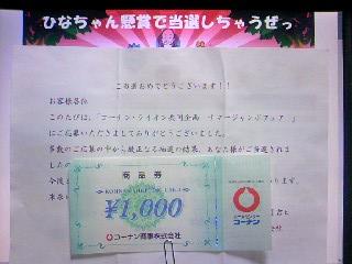 コーナン×ライオン サマージャンボ 商品券1000円