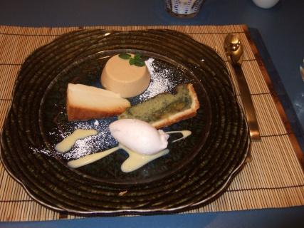 3月10日 塩キャラメルのムース、ヨモギのタルト、桜の味のシャーベット、卵白のプリン
