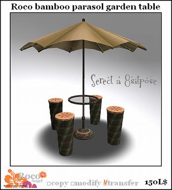 Roco bamboo parasol garden tabel mini