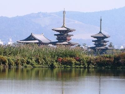 大池から薬師寺を望む