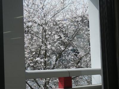 窓の外では
