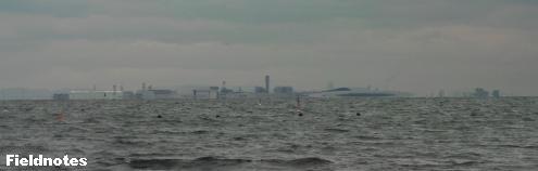 海岸から遠くに見える関空