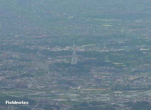 金剛山から見たPLの塔(大平和祈念塔)