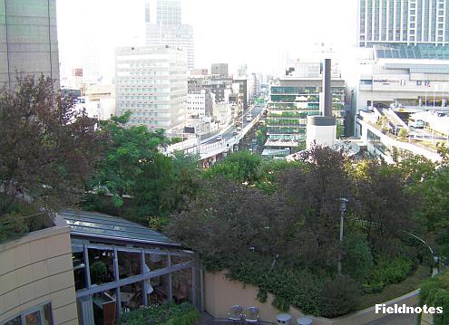 パークスガーデンの森と店と阪神高速とスイスホテル