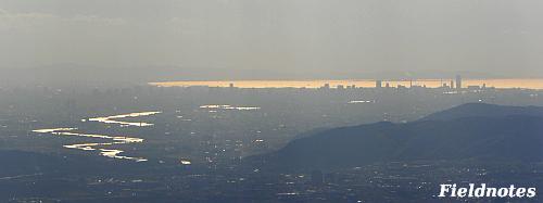 大山崎から大阪湾に流れる淀川(ガーデンミュージアム比叡の展望台より)
