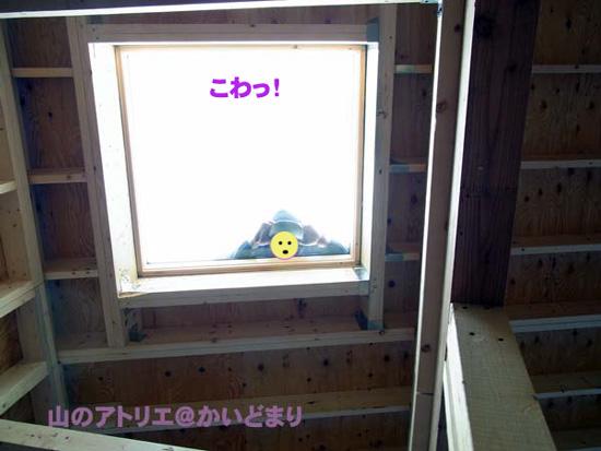 天窓に人影