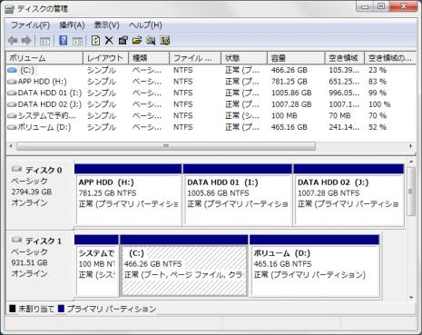 ディスクの管理ST3000DM001