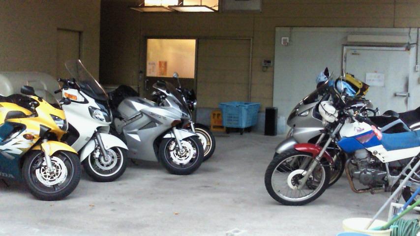 関金温泉に集まったバイク連