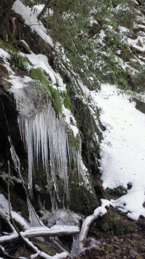白糸ノ滝は少し凍結
