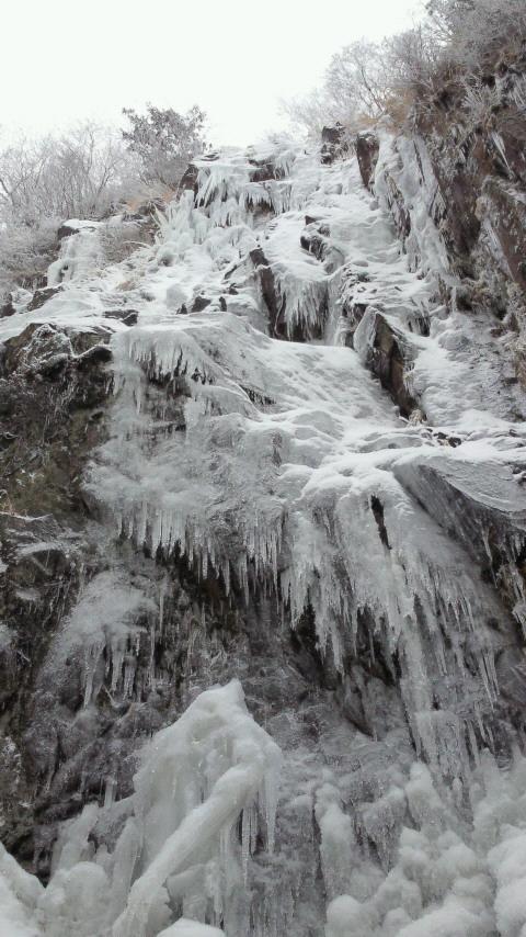 おお、凍結してます難所ヶ峠